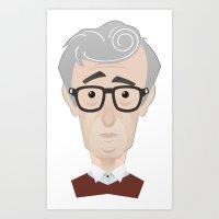 woody allen Art Prints featuring Woody Allen by Alexander Kuzmin