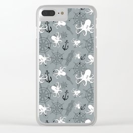 Grey Scattering Octopuses Clear iPhone Case