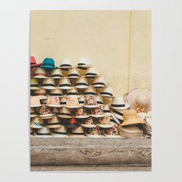 Panama Hats in Cartagena, Colombia Poster