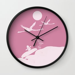 Flaming Birds In Love Wall Clock