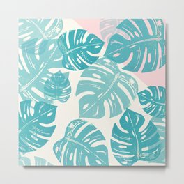 Linocut Monstera Rosy Metal Print