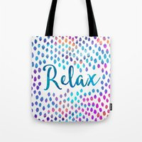 relax Tote Bags featuring Relax by Elisabeth Fredriksson
