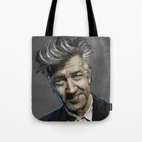 david lynch Tote Bags featuring DAVID LYNCH by AMBIDEXTROUS™