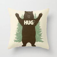 bear Throw Pillows featuring Bear Hug? by Fanboy30