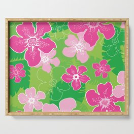 Pink and Green Hawaiian pattern Serving Tray