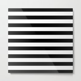 Midnight Black and White Stripes Metal Print