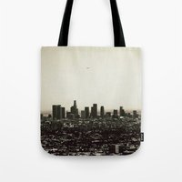 los angeles Tote Bags featuring Los Angeles by MojoPhoto59
