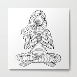 Yoga Girl - Namaste Black and White Metal Print