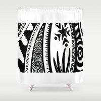zentangle Shower Curtains featuring Zentangle by Wealie