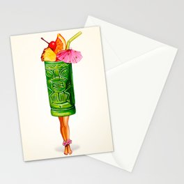 Tiki Cocktail Pin-Up - Tiki Mug Stationery Cards
