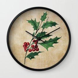 Vintage Holly Branch - Christmas Holiday Wall Clock