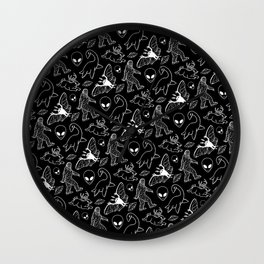 Cryptid Pattern: White Lines Wall Clock