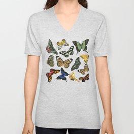 Vintage Butterflies | Butterfly Pattern | Multi-colored | Unisex V-Neck