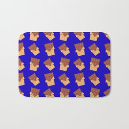 Funny sweet delicious yummy chocolate bars in golden wrappers cartoon blue retro pattern Bath Mat