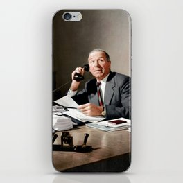 Sir Matt Busby on phone in colour iPhone Skin