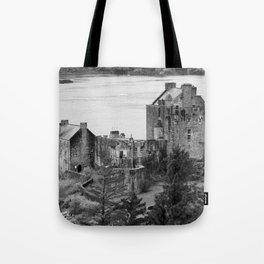 Eilean Donan Castle in B and W Tote Bag
