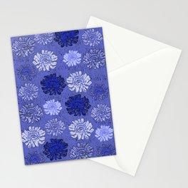Daisy Pattern Monochromatic Blue Stationery Cards