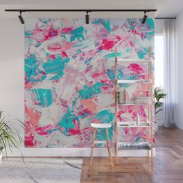 Modern bright candy pink turquoise pastel brushstrokes acrylic paint Wall Mural