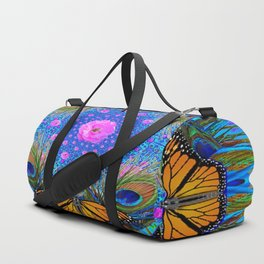MONARCH BUTTERFLIES & PINK ROSES Duffle Bag