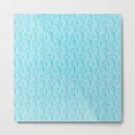 Aqua Knit Textured Pattern Metal Print