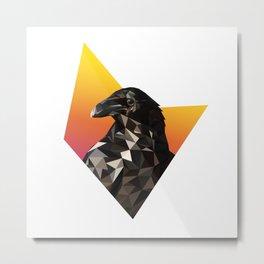 Low Poly Raven Metal Print
