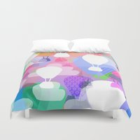 hot air balloons Duvet Covers featuring Hot air balloons by Ingrid Castile