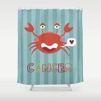 cancer Shower Curtains featuring Cancer by Esther Ilustra