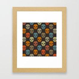 Knitted skull pattern - colorful Framed Art Print