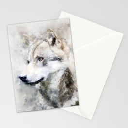 Watercolour grey wolf portrait Stationery Cards