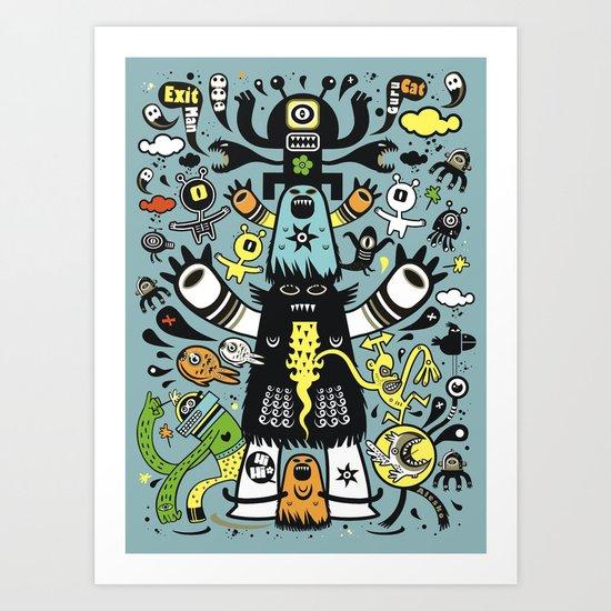 Guru Cat (blue time) Art Print