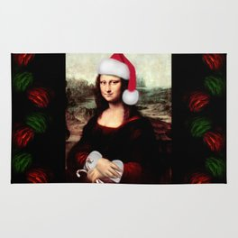 Mona Lisa Wearing a Santa Hat Rug