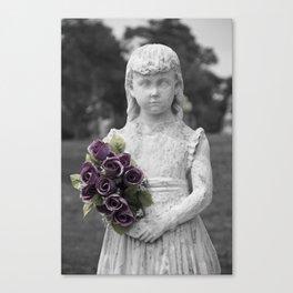 Girl Statue Closeup Purple Flowers Canvas Print