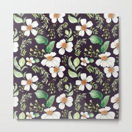 Modern purple green white watercolor daisies floral Metal Print
