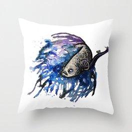 Galaxy Betta Fish Watercolor Throw Pillow