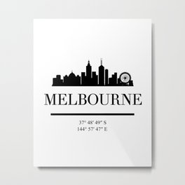 MELBOURNE AUSTRALIA BLACK SILHOUETTE SKYLINE ART Metal Print