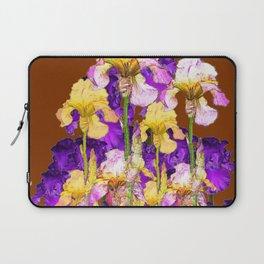 IRIS GARDEN ON CHOCOLATE BROWN Laptop Sleeve