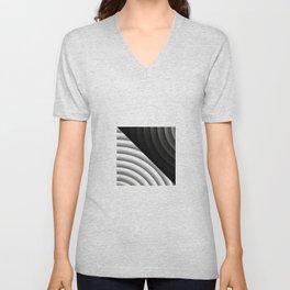 Modern CIRCULAR Black and White Design Unisex V-Neck