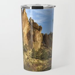 Cool Formations of Smith Rock in Morning Light Travel Mug