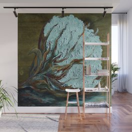 Cotton Boll on Wood Wall Mural