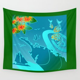 NZ Map With Pohutukawa Fish and Boats Wall Tapestry