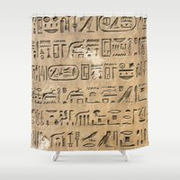 egypt Shower Curtains featuring Egypt Hieroglyphs by Manuela Mishkova