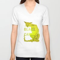duvet cover V-neck T-shirts featuring BLACK CAT DUVET COVER by aztosaha