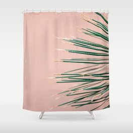 Green on Coral | Botanical modern photography print | Tropical vibe art Shower Curtain