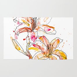 Day Lilies - Watercolor and ink Rug