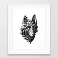 german shepherd Framed Art Prints featuring German Shepherd by BIOWORKZ