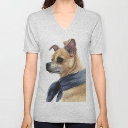 Chug Chihuahua Pug Mix Portrait Unisex V-Neck
