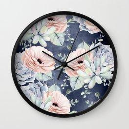 Night Succulents Navy Wall Clock