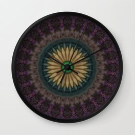 Purple mandala with yellow flower Wall Clock