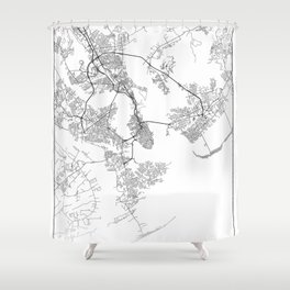 Minimal City Maps - Map Of Charleston, South Carolina, United States Shower Curtain