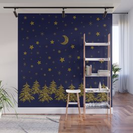 Sparkly Christmas tree, moon, stars Wall Mural